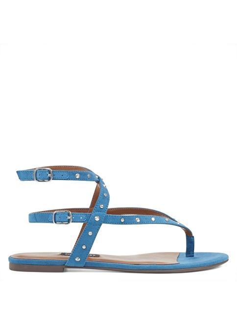 Nine West Bilekten Bağlamalı Sandalet Mavi